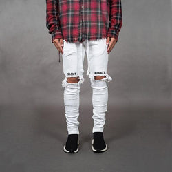 Men's Fashion Street Style Ripped Strips Jeans