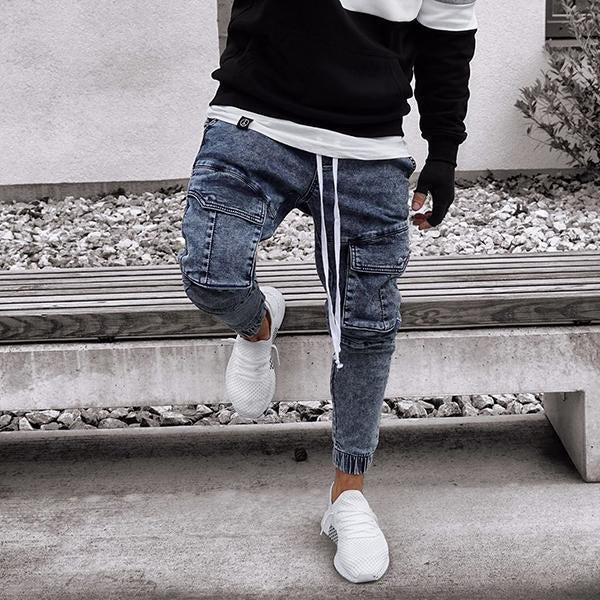 Fashion Street Style Slim-Fit Big Pocket Jeans
