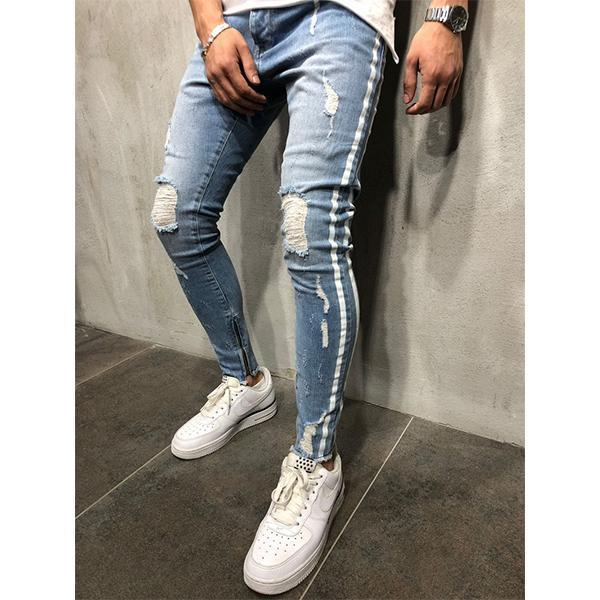 Men's Fashion Striped Slim Ripped Jeans