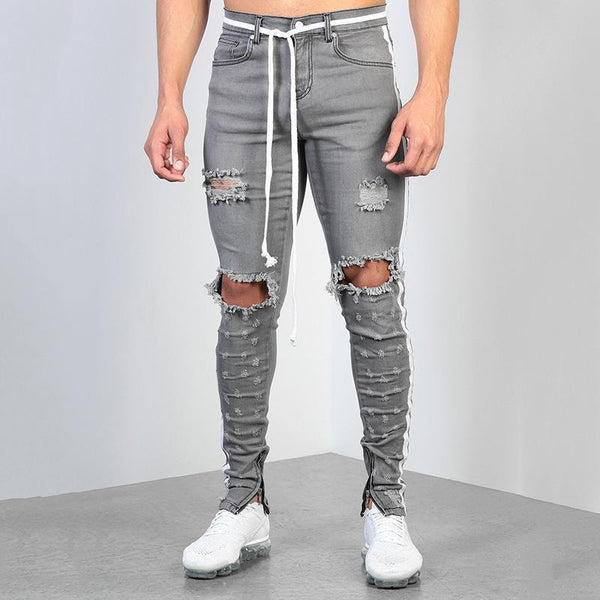 Men's Fashion Splicing Ribbon Broken Hole Jeans