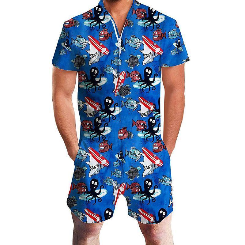 Fashion Men's Printing Beach One-Piece Jumpsuit