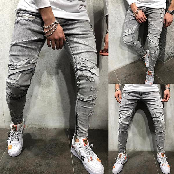 Men's Fashion Solid Color Washed Slim-Fit Zipper Jeans