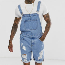 Sky Blue Men's Denim Shorts Hole Retro Jumpsuit Overalls Jumpsuit
