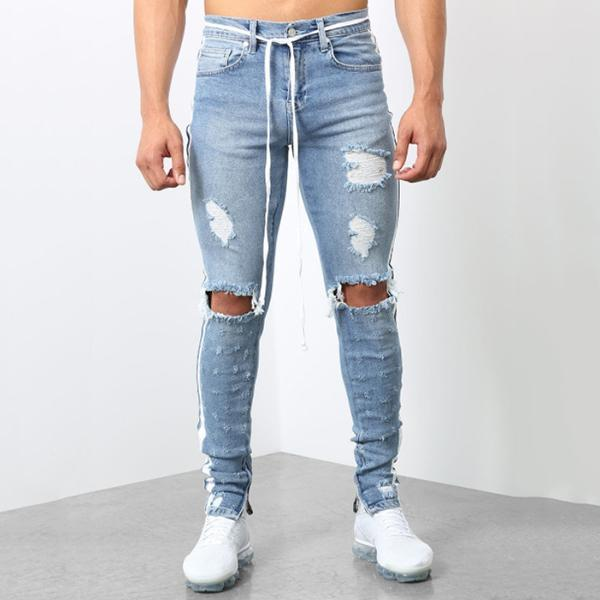 Men's Fashion Broken Hole Side Stripe Jeans