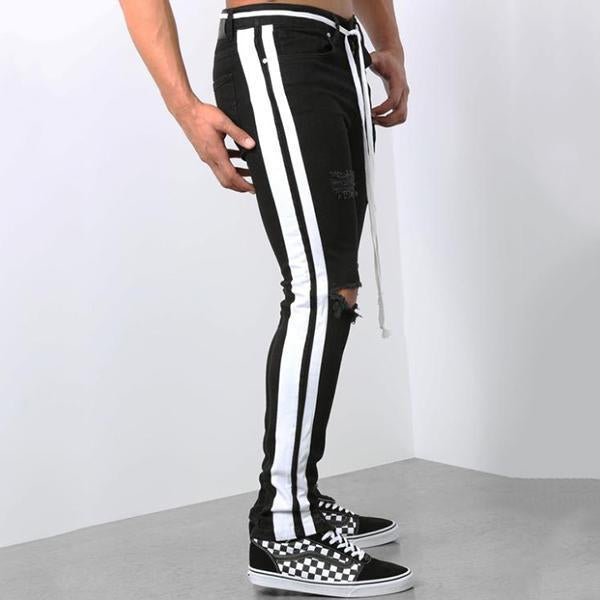 Men's Broken Hole Side Stripe Jeans