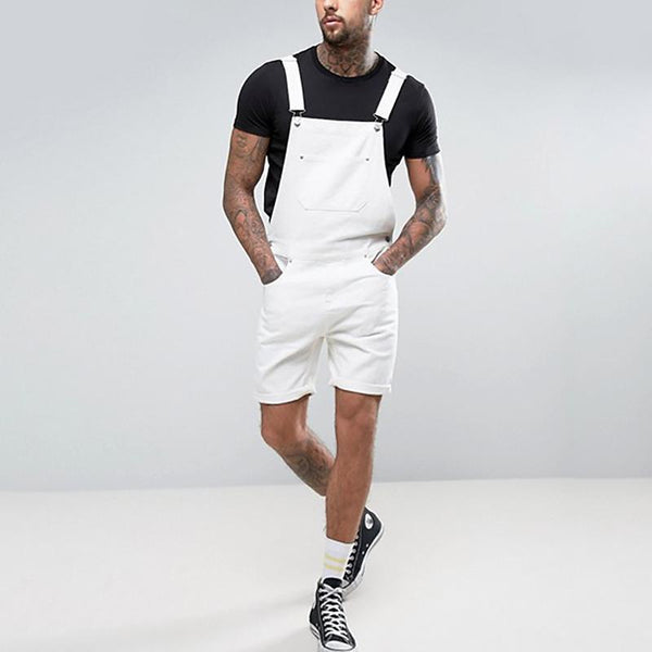 Men's Vintage White Crimping Strap Jumpsuits