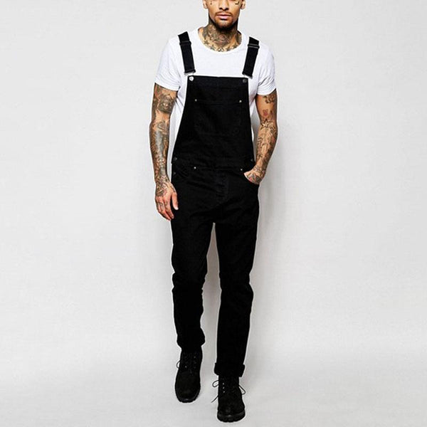 Men's Fashion Metal Button  Slim Fit Sling Denim Jumpsuit For Men