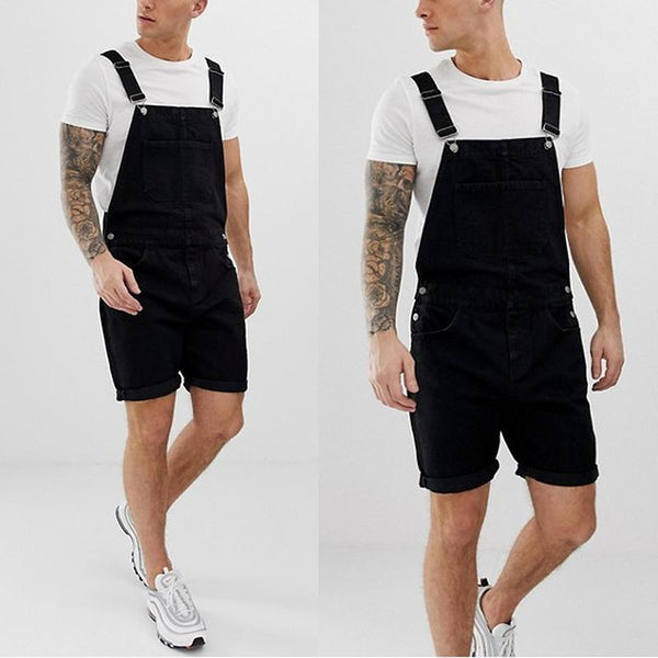 Men's Vintage Straight Type Cuffed Hem Tooling Sling Denim  Shorts