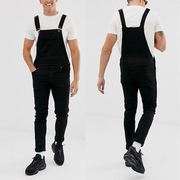 Casual Fashion Pure Colour Denim Overalls