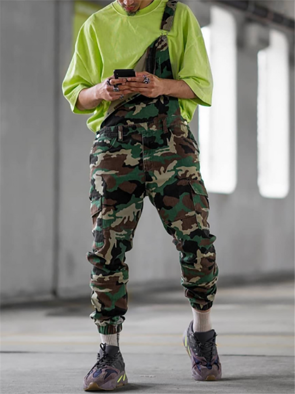 Fashion Men's Army Green Camouflage Printed Jumpsuits