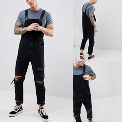 Men's Pure Color Broken Holes Tearing Edge Overalls Jeans