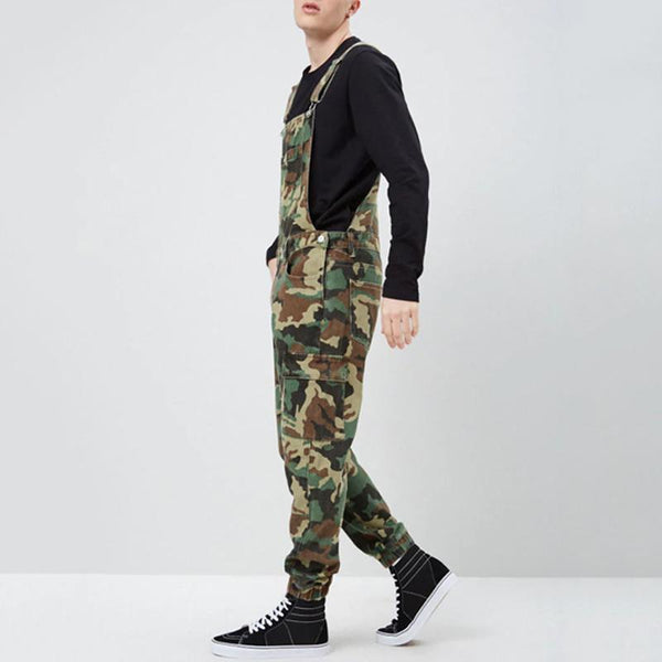 Fashion Camouflage Pattern Slim Fit Bib Pants