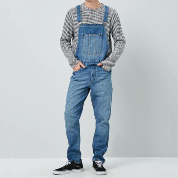 Casual Straight Type Washed Denim Overalls