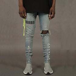 Fashion Printed Broken Hole Jeans
