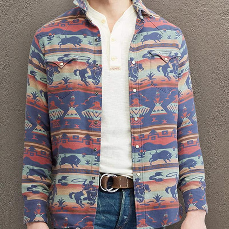 Fashion Men's Printed Colour Single-Breasted Jacket