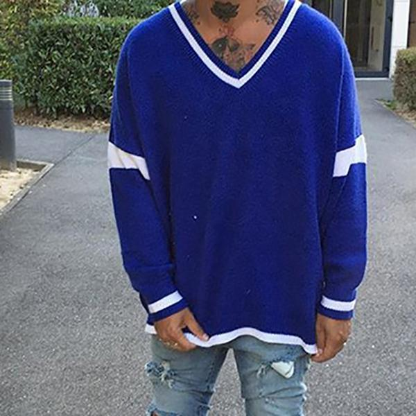 Men's V-Neck Knitted Loose Sweater