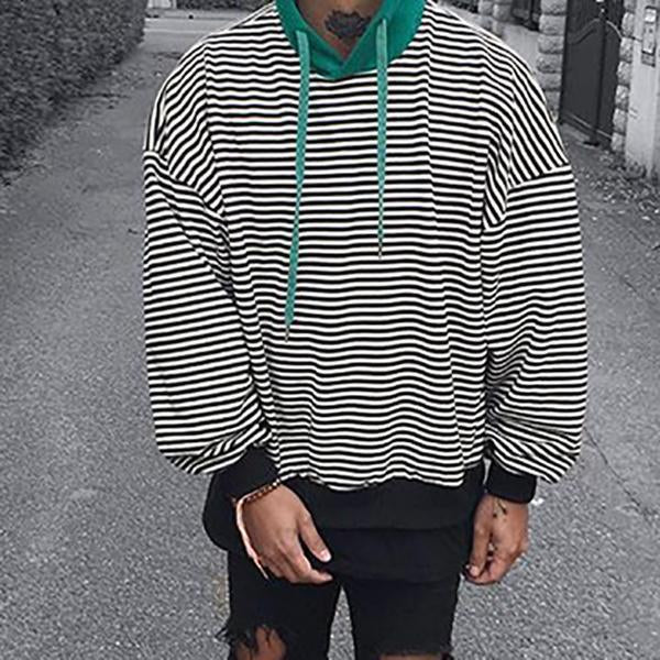 Men's Striped Hooded Loose Sweatshirt