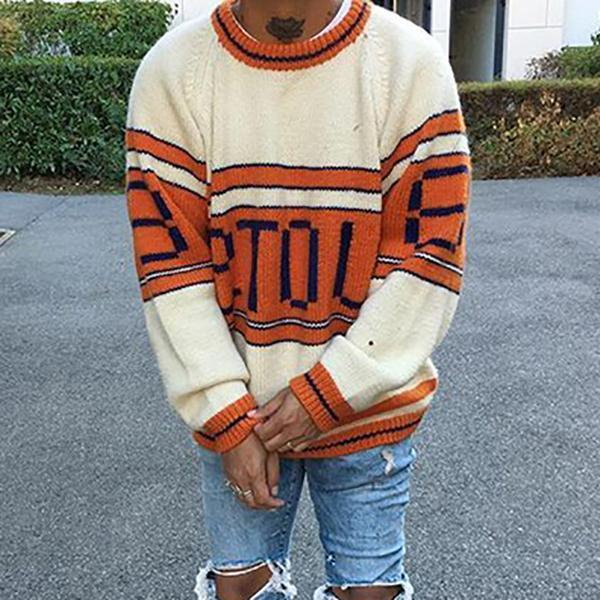 Men's Round Neck Letter Sweater