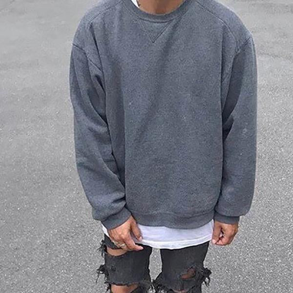 Solid Color Round Neck Hoodless Sweatshirt