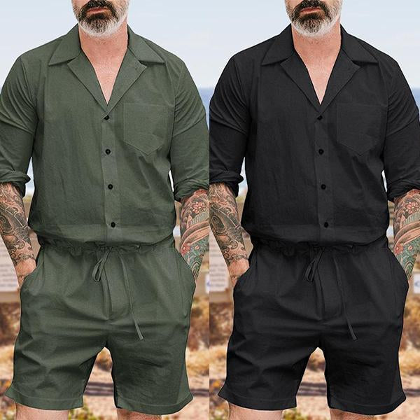 Fashion Plain Mens Casual Jumpsuit