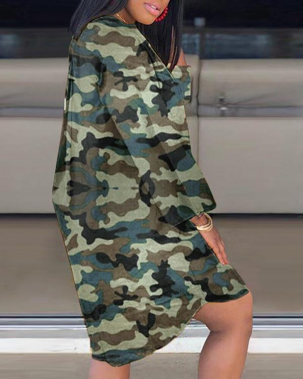 Round Neck Mouth Pattern Camouflage T-shirt Dress
