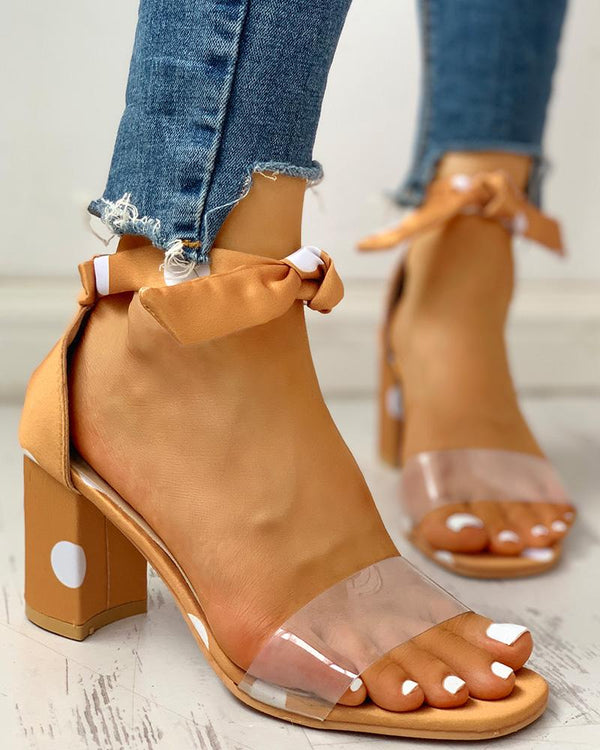 Transparent Strap Polka Dot Chunky Heeled Sandals