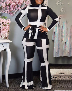 Colorblock Mock Neck Long Sleeve Top & Pant Sets