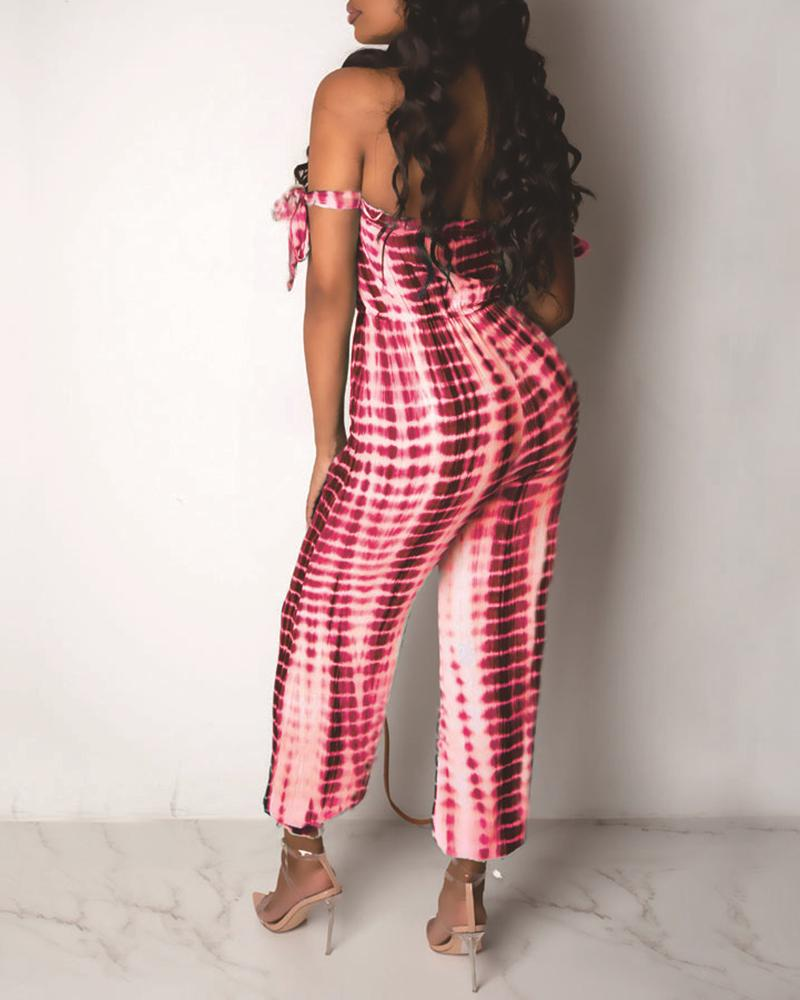 Tie Dye Print Off Shoulder Jumpsuit