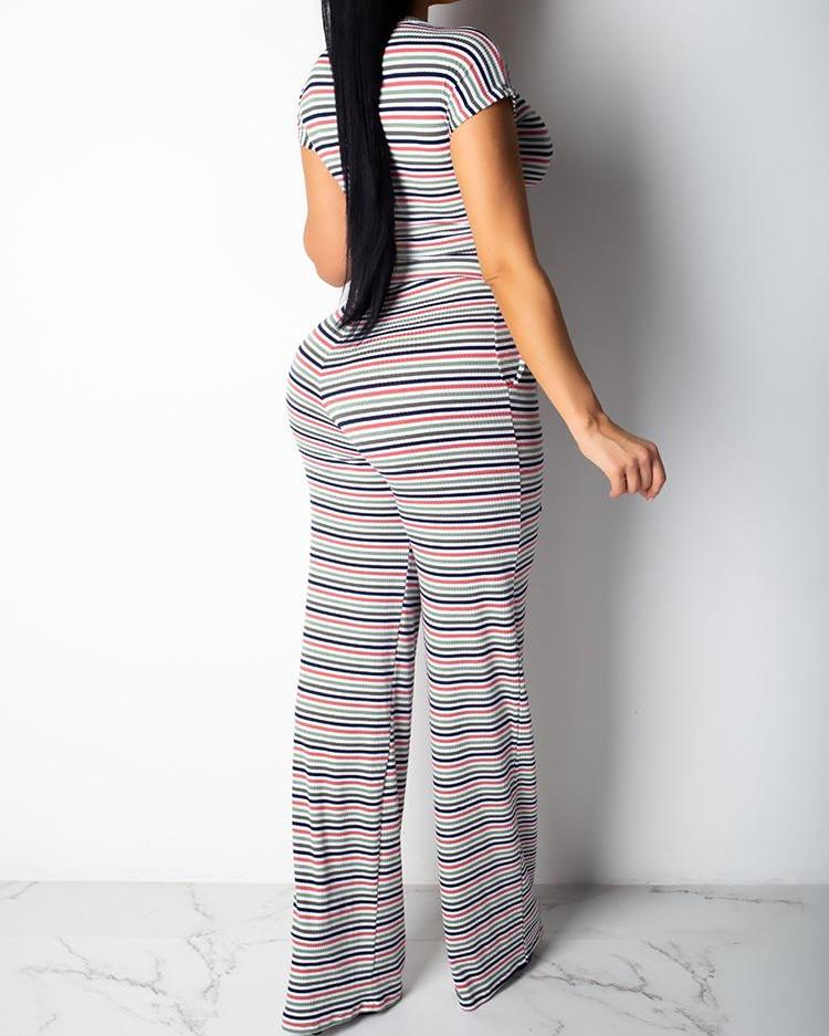 Striped Knotted Crop Top & Pants Set