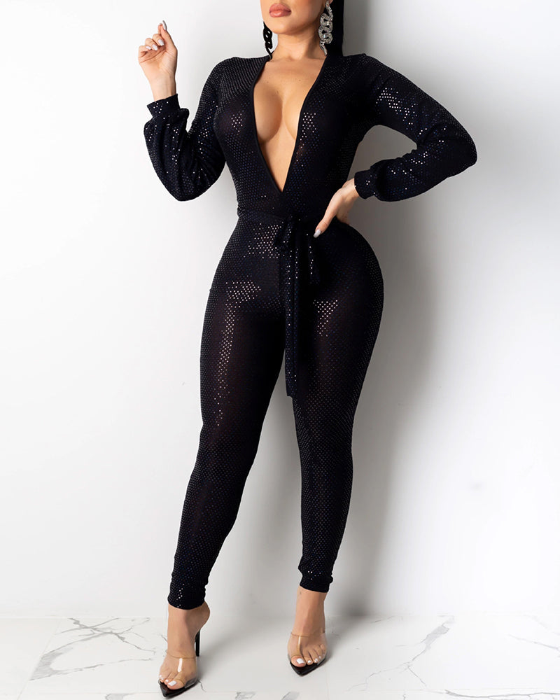 Glitter Plunge Backless Tied Jumpsuit
