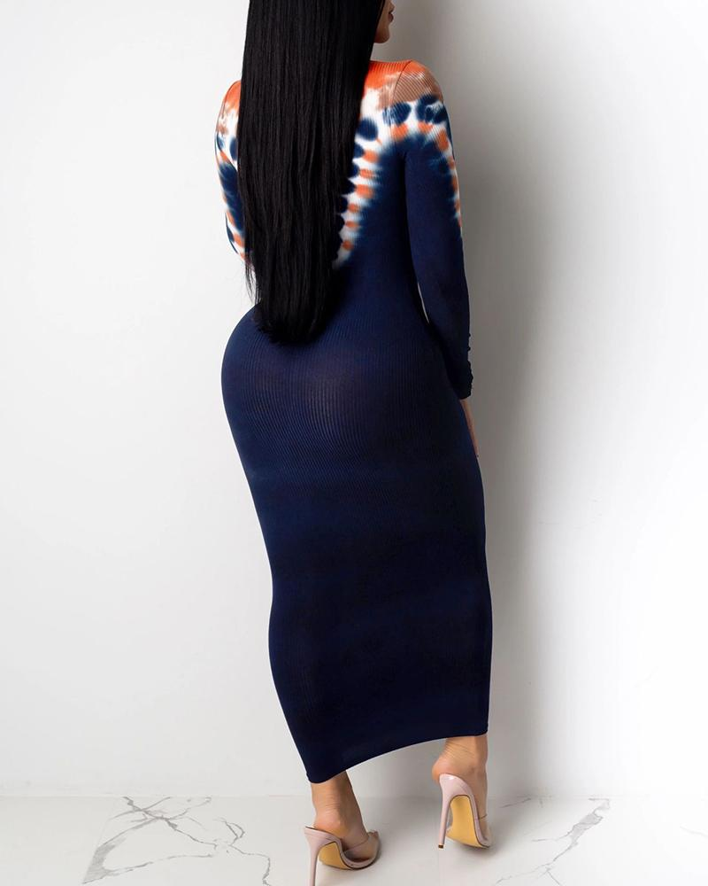 Abstract Print Long Sleeve Midi Dress