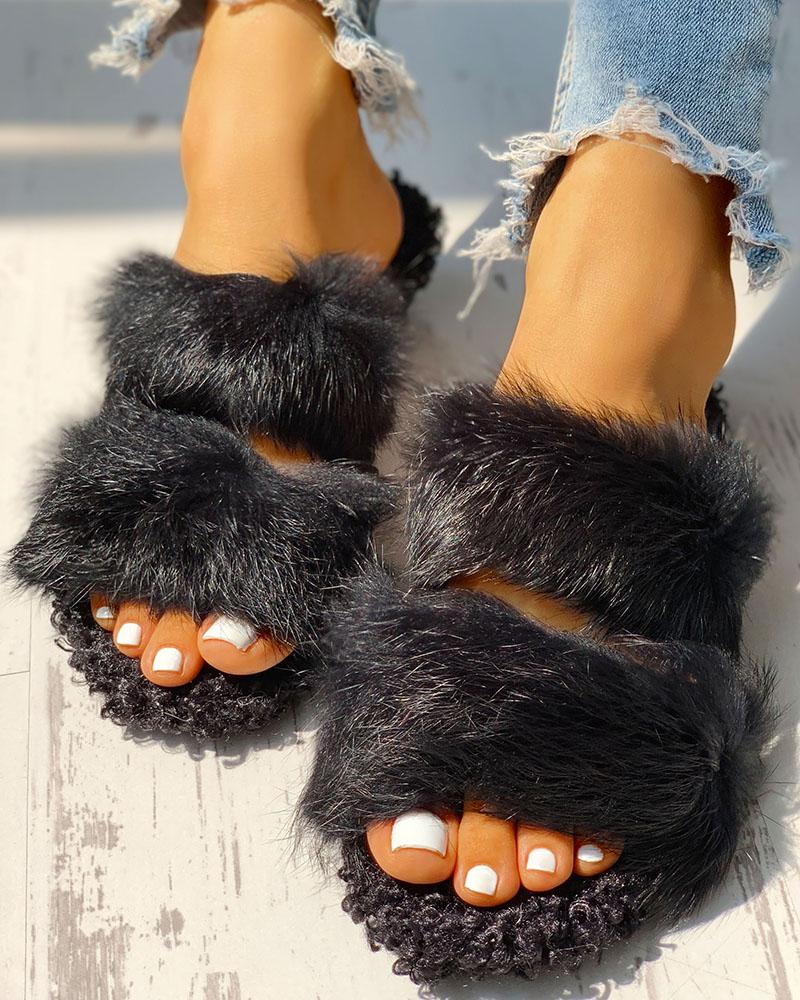 Fluffy Hollow Out Casual Flat Sandals