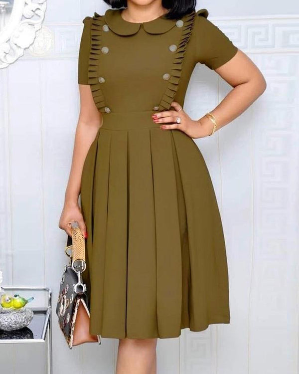 Buttoned Ruched Design Pleated Dress