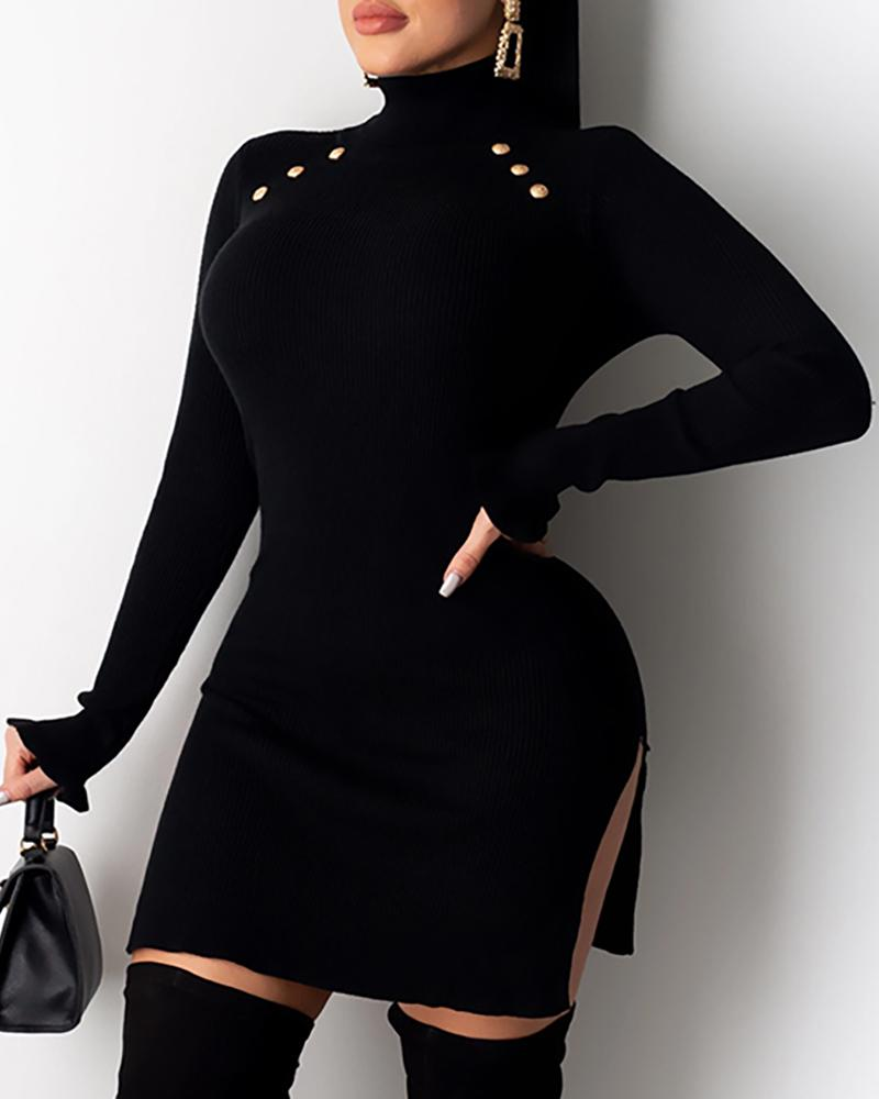 Buttoned High Neck Slit Ribbed Dress