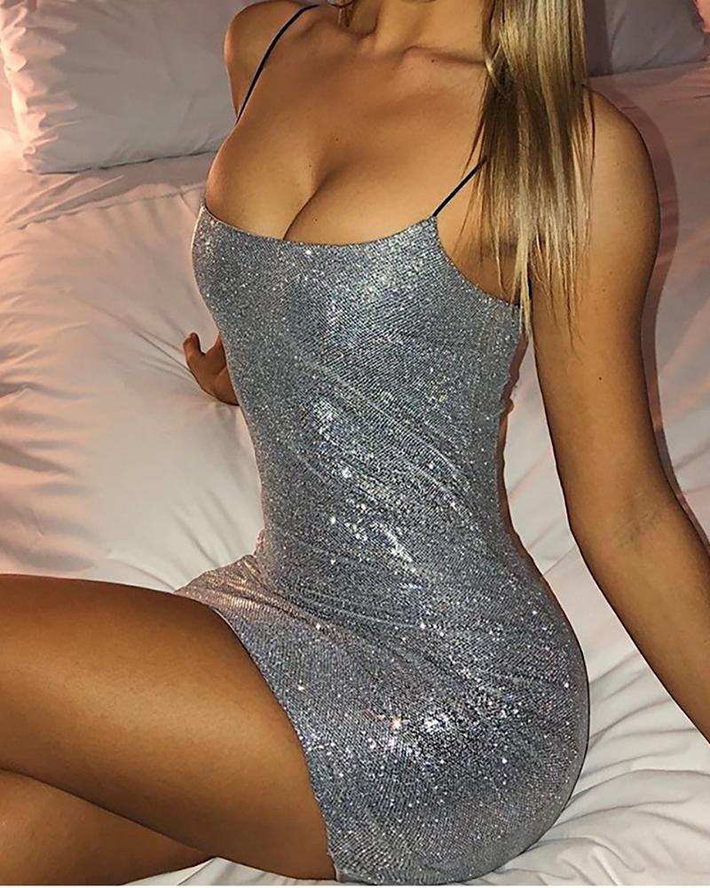 Sequins Spaghetti Strap Bodycon Dress