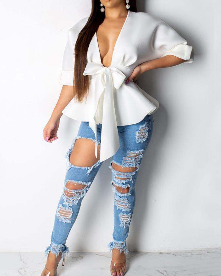 Solid Plunge Ruffles Design Top