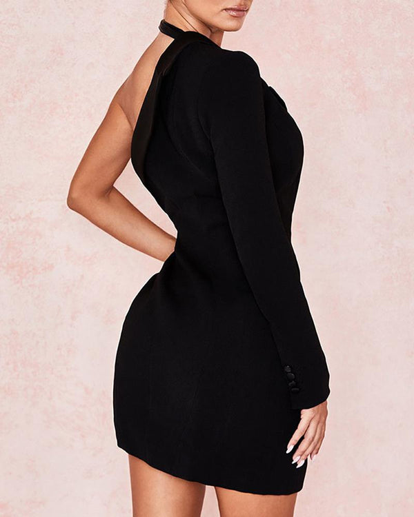 One Shoulder PU Insert Buttoned Blazer Dress