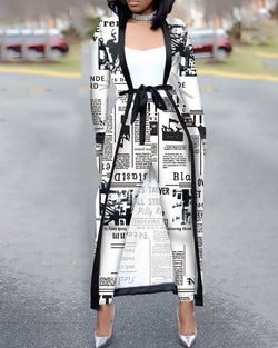 Newspaper Print Open Front Longline Coat & Pants Sets