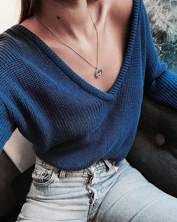Solid V-Neck Casual Sweater