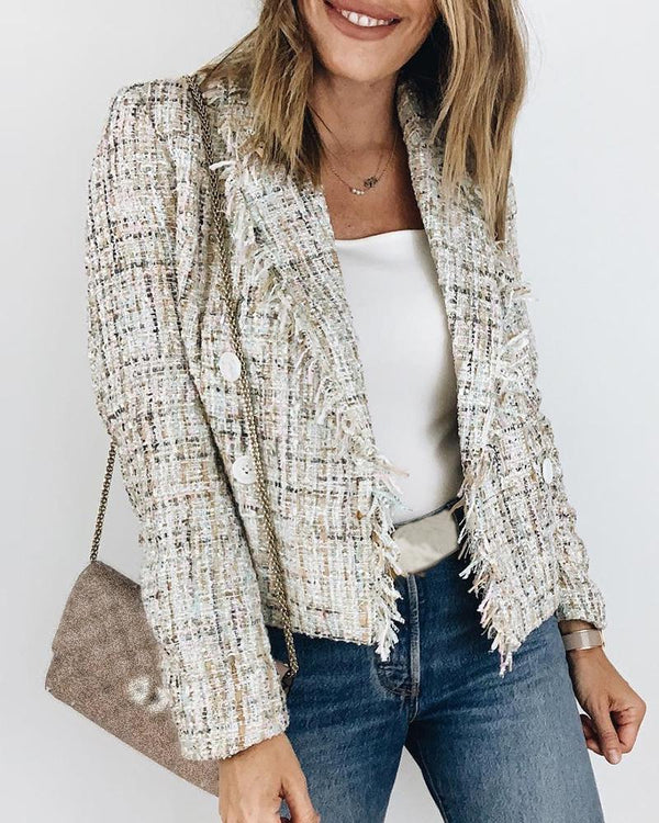 Notched Collar Fringed Buttoned Plaid Blazer