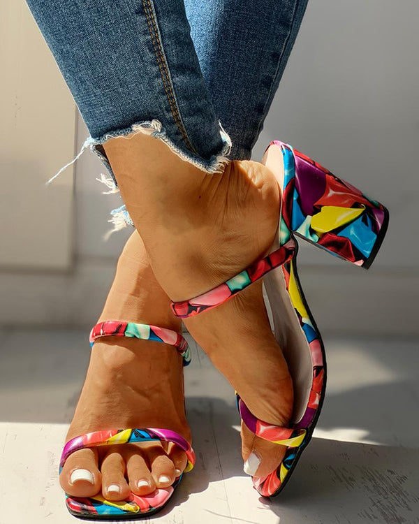 Colorful Open Toe Chunky Heeled Sandals