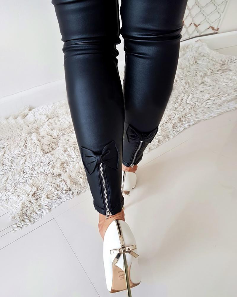 Pu Zipper Design Bowknot Detail Pants