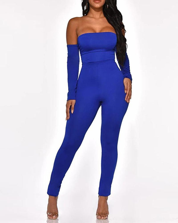 Off Shoulder Cutout Backless Tight Jumpsuit