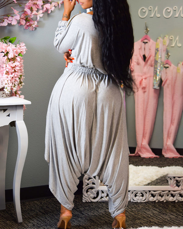 Solid Long Sleeve Tight Waist Ruched Jumpsuit