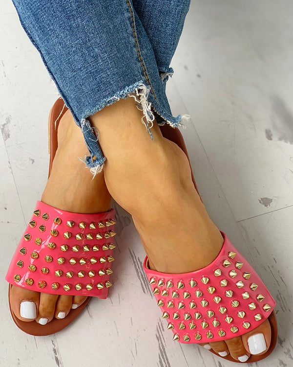 Rivet Design Casual Flat Sandals Slipper