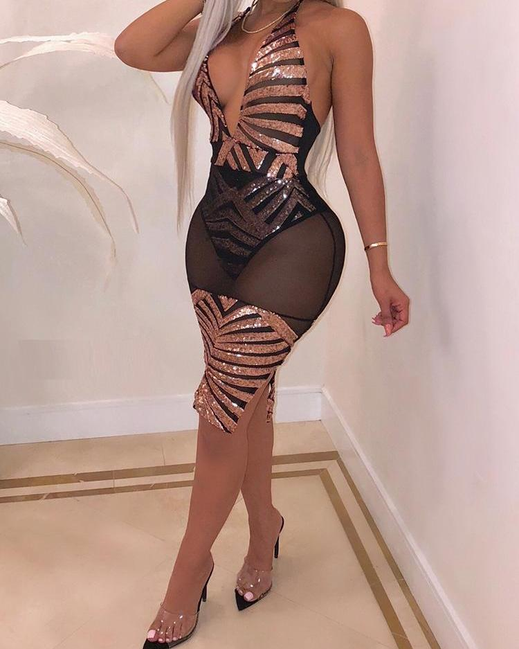 Sheer Mesh Backless Sequin Bodycon Dress