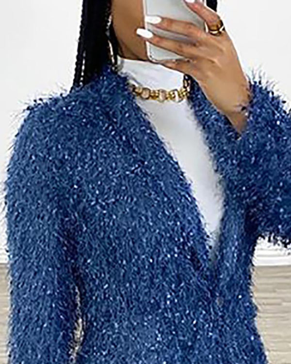 Glitter Fluffy Long Sleeve Coat