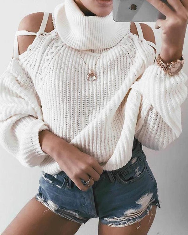 Cold Shoulder High Neck Sweater Top