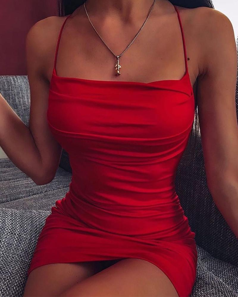 Passion Solid Slim Fit Cami Dress