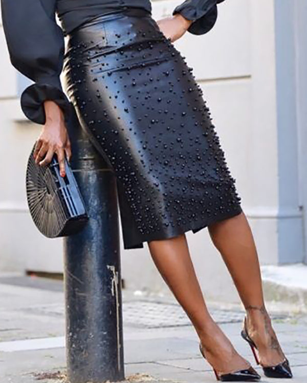 Beaded Faux Leather Zipper Slit Skirt